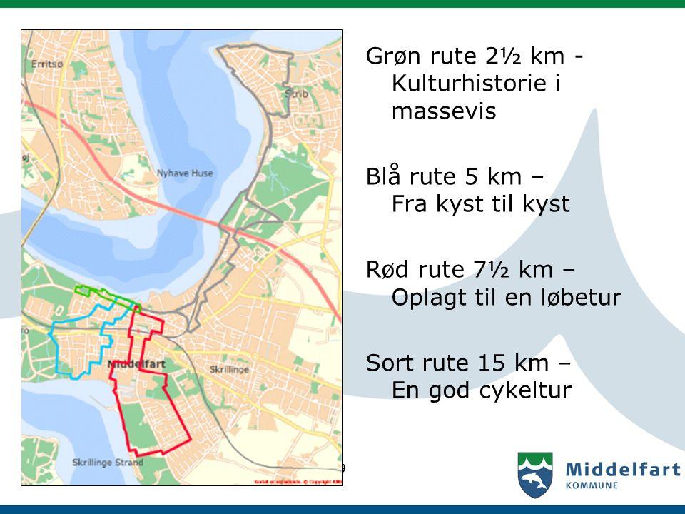Grøn rute 2½ km - Kulturhistorie i massevis Blå rute 5 km – Fra kyst til kyst Rød rute 7½ km – Oplagt til en løbetur Sort rute 15 km – En god cykeltur