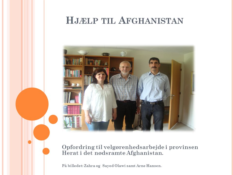 H JÆLP TIL A FGHANISTAN Opfordring til velgørenhedsarbejde i provinsen Herat i det nødsramte Afghanistan.