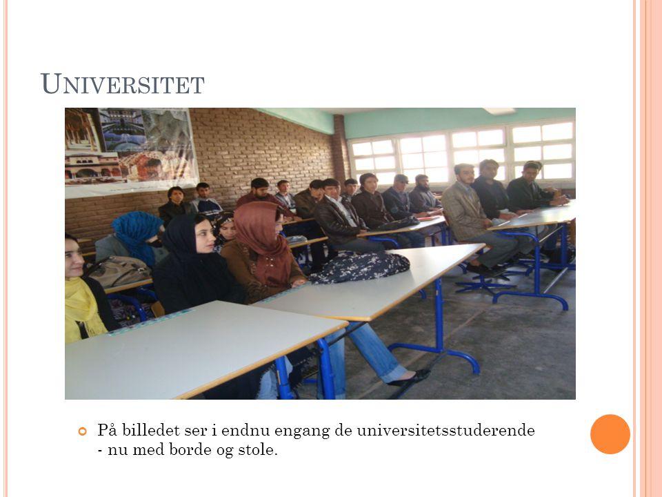 U NIVERSITET På billedet ser i endnu engang de universitetsstuderende - nu med borde og stole.