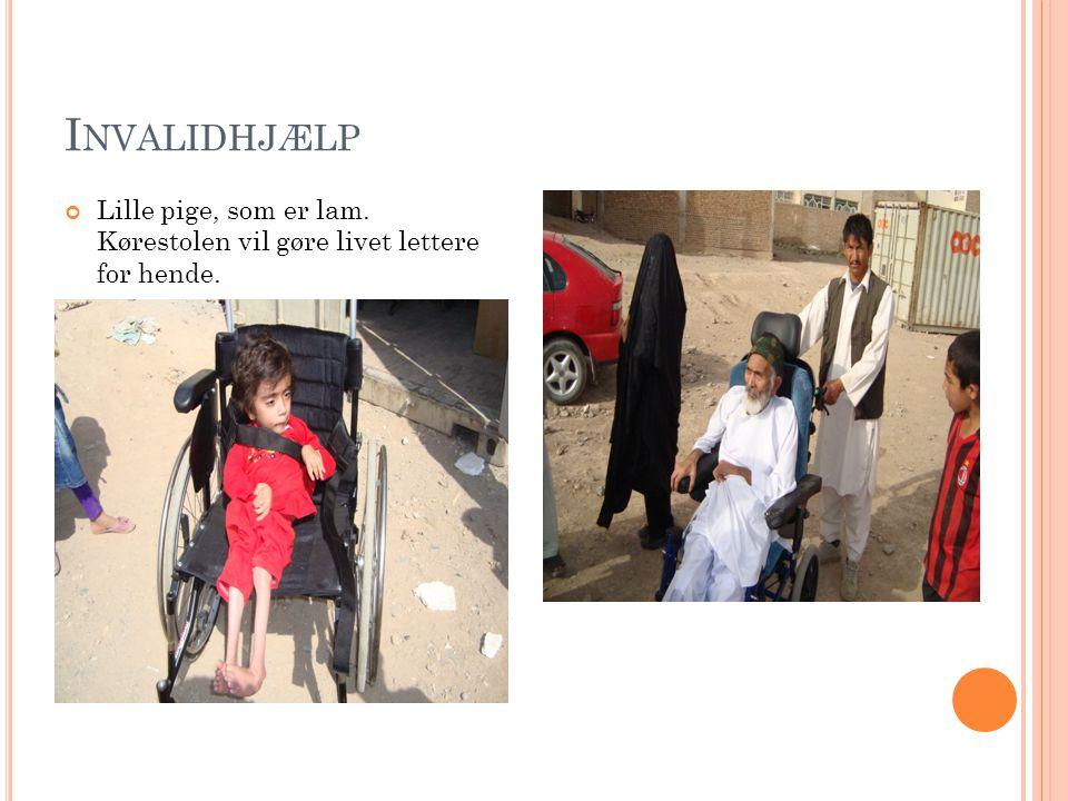 I NVALIDHJÆLP Lille pige, som er lam. Kørestolen vil gøre livet lettere for hende.