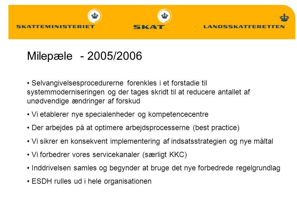 Milepæle - 2005/2006 Selvangivelsesprocedurerne forenkles i et forstadie til systemmoderniseringen og der tages skridt til at reducere antallet af unødvendige ændringer af forskud Vi etablerer nye specialenheder og kompetencecentre Der arbejdes på at optimere arbejdsprocesserne (best practice) Vi sikrer en konsekvent implementering af indsatsstrategien og nye måltal Vi forbedrer vores servicekanaler (særligt KKC) Inddrivelsen samles og begynder at bruge det nye forbedrede regelgrundlag ESDH rulles ud i hele organisationen