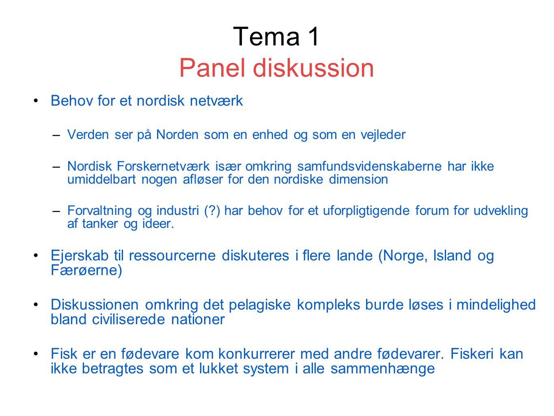 Tema 1 Panel diskussion Behov for et nordisk netværk –Verden ser på Norden som en enhed og som en vejleder –Nordisk Forskernetværk især omkring samfundsvidenskaberne har ikke umiddelbart nogen afløser for den nordiske dimension –Forvaltning og industri ( ) har behov for et uforpligtigende forum for udvekling af tanker og ideer.
