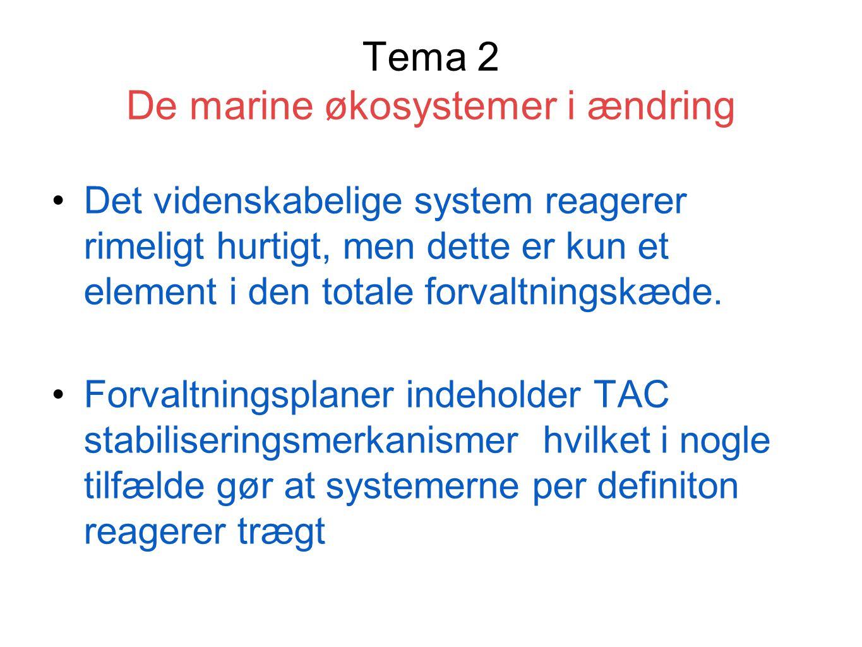Tema 2 De marine økosystemer i ændring Det videnskabelige system reagerer rimeligt hurtigt, men dette er kun et element i den totale forvaltningskæde.