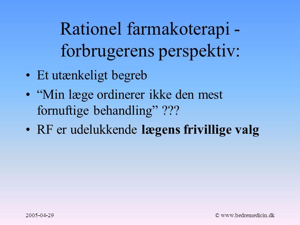 2005-04-29© www.bedremedicin.dk Rationel farmakoterapi - forbrugerens perspektiv: Et utænkeligt begreb Min læge ordinerer ikke den mest fornuftige behandling .