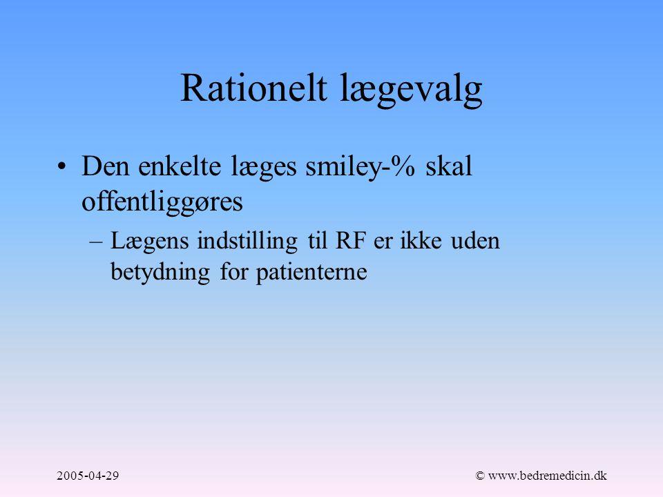 2005-04-29© www.bedremedicin.dk Rationelt lægevalg Den enkelte læges smiley-% skal offentliggøres –Lægens indstilling til RF er ikke uden betydning for patienterne