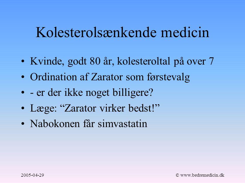 2005-04-29© www.bedremedicin.dk Kolesterolsænkende medicin Kvinde, godt 80 år, kolesteroltal på over 7 Ordination af Zarator som førstevalg - er der ikke noget billigere.