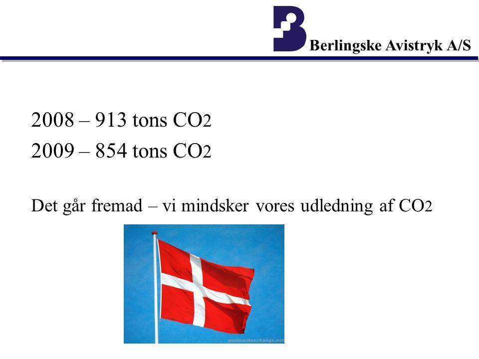 2008 – 913 tons CO 2 2009 – 854 tons CO 2 Det går fremad – vi mindsker vores udledning af CO 2