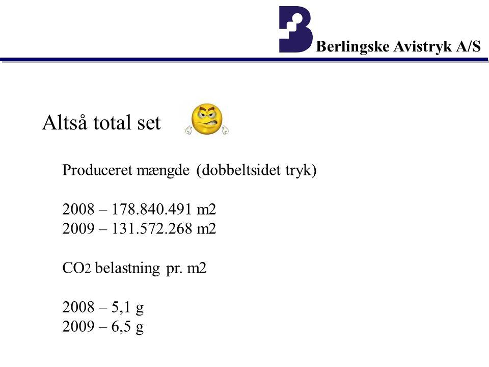 Berlingske Avistryk A/S Altså total set Produceret mængde (dobbeltsidet tryk) 2008 – 178.840.491 m2 2009 – 131.572.268 m2 CO 2 belastning pr.