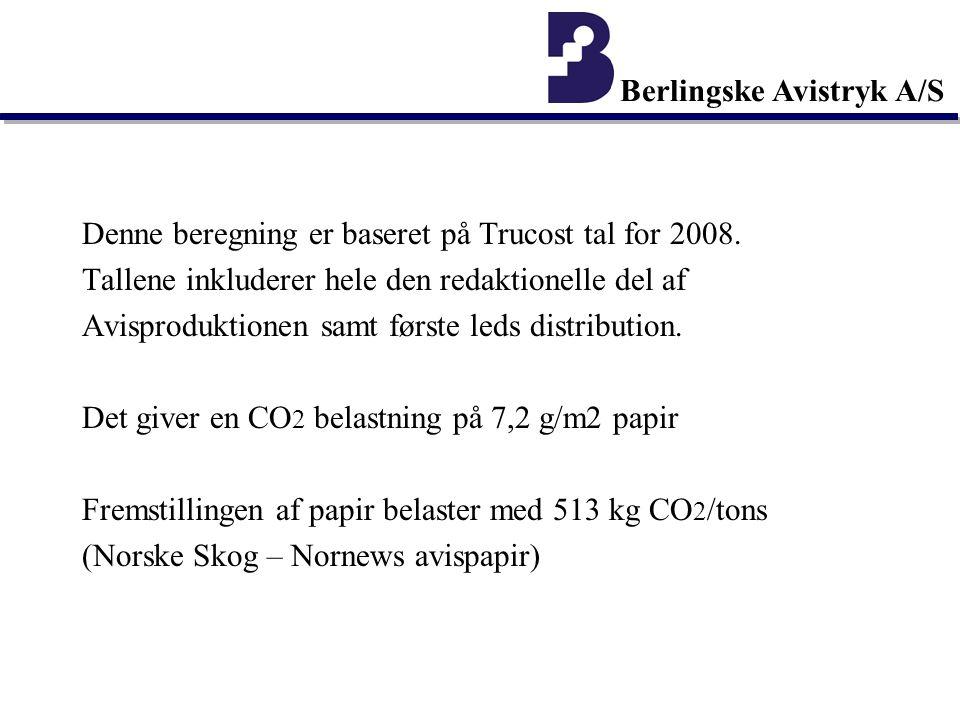 Berlingske Avistryk A/S Denne beregning er baseret på Trucost tal for 2008.