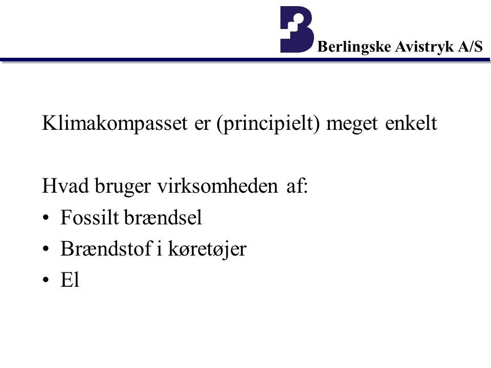 Berlingske Avistryk A/S Klimakompasset er (principielt) meget enkelt Hvad bruger virksomheden af: Fossilt brændsel Brændstof i køretøjer El