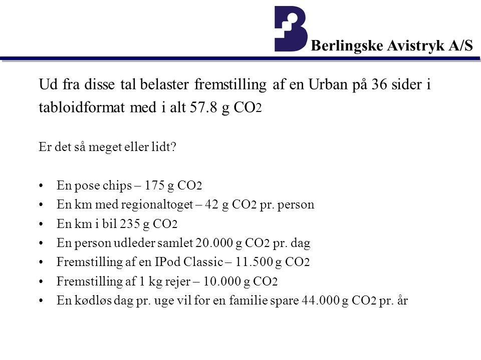 Berlingske Avistryk A/S Ud fra disse tal belaster fremstilling af en Urban på 36 sider i tabloidformat med i alt 57.8 g CO 2 Er det så meget eller lidt.