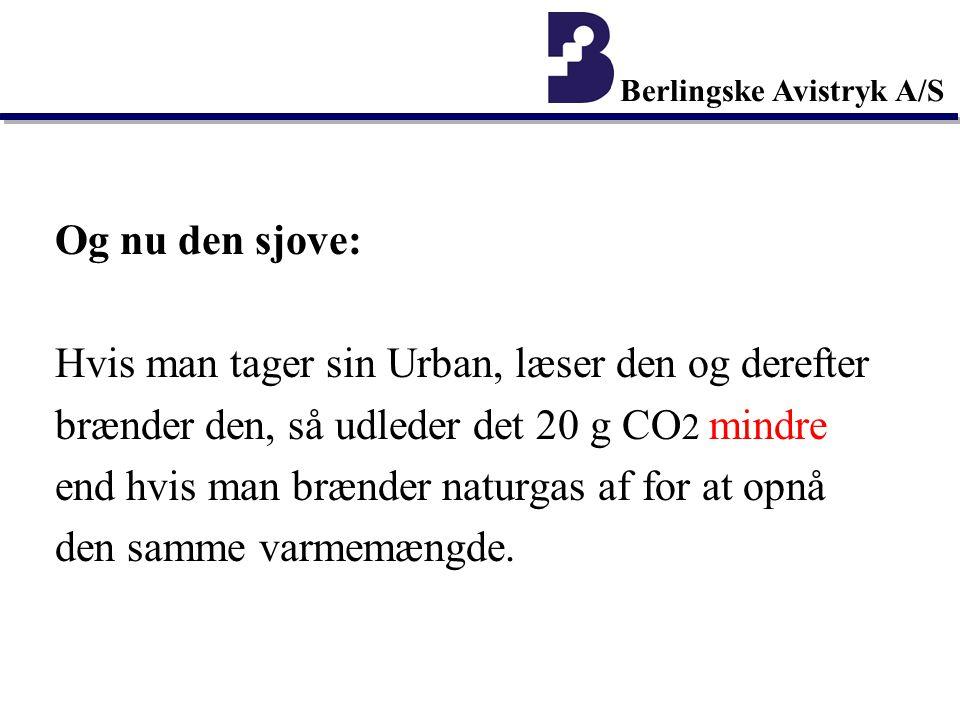 Berlingske Avistryk A/S Og nu den sjove: Hvis man tager sin Urban, læser den og derefter brænder den, så udleder det 20 g CO 2 mindre end hvis man brænder naturgas af for at opnå den samme varmemængde.