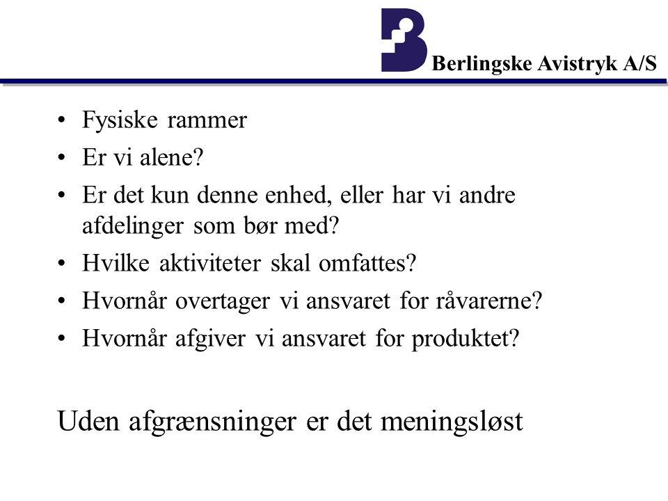 Berlingske Avistryk A/S Fysiske rammer Er vi alene.