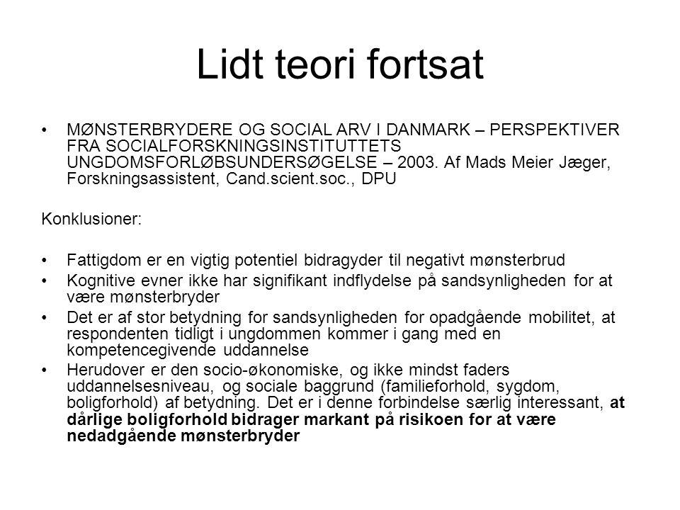 Lidt teori fortsat MØNSTERBRYDERE OG SOCIAL ARV I DANMARK – PERSPEKTIVER FRA SOCIALFORSKNINGSINSTITUTTETS UNGDOMSFORLØBSUNDERSØGELSE – 2003.