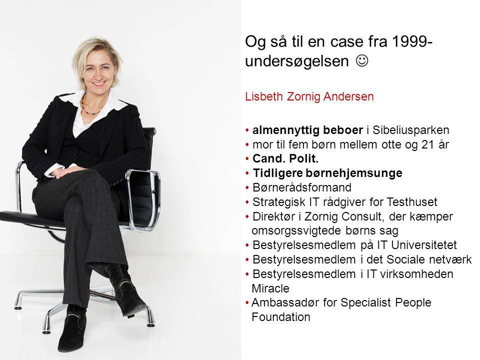 Og så til en case fra 1999- undersøgelsen Lisbeth Zornig Andersen almennyttig beboer i Sibeliusparken mor til fem børn mellem otte og 21 år Cand.