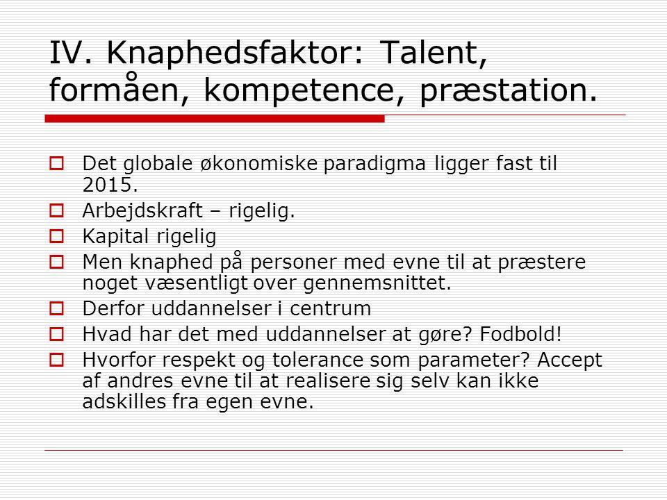 IV. Knaphedsfaktor: Talent, formåen, kompetence, præstation.