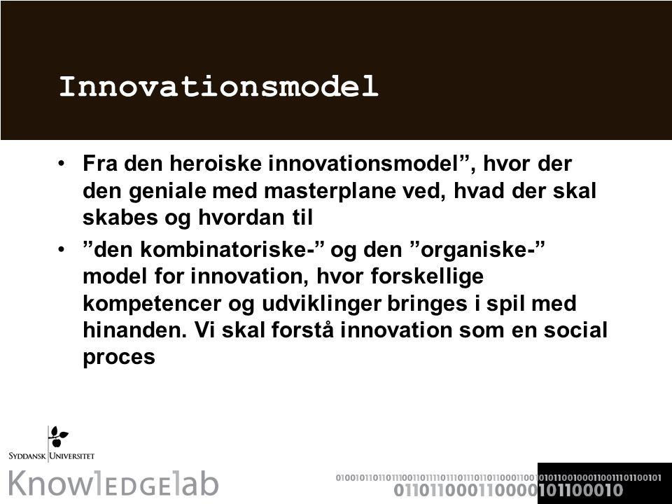 Innovationsmodel Fra den heroiske innovationsmodel , hvor der den geniale med masterplane ved, hvad der skal skabes og hvordan til den kombinatoriske- og den organiske- model for innovation, hvor forskellige kompetencer og udviklinger bringes i spil med hinanden.
