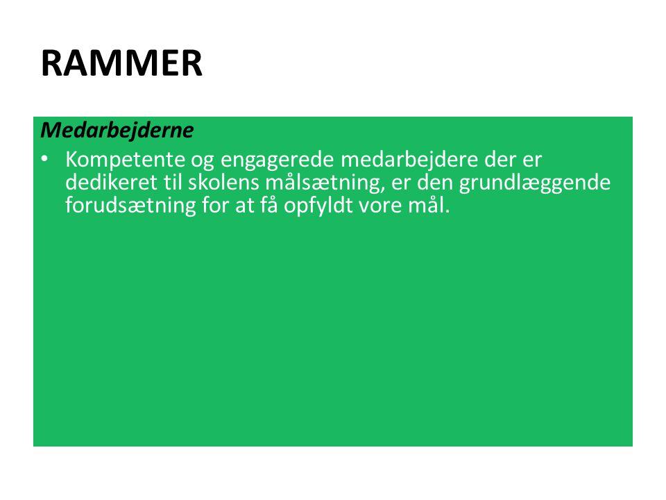 RAMMER Medarbejderne Kompetente og engagerede medarbejdere der er dedikeret til skolens målsætning, er den grundlæggende forudsætning for at få opfyldt vore mål.