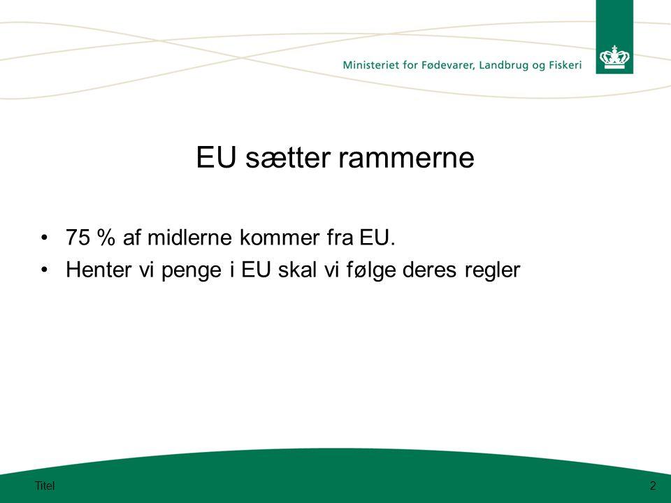 Titel2 EU sætter rammerne 75 % af midlerne kommer fra EU.