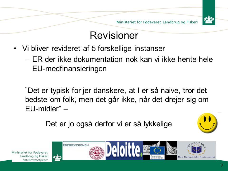 Revisioner Vi bliver revideret af 5 forskellige instanser –ER der ikke dokumentation nok kan vi ikke hente hele EU-medfinansieringen Det er typisk for jer danskere, at I er så naive, tror det bedste om folk, men det går ikke, når det drejer sig om EU-midler – 3 Det er jo også derfor vi er så lykkelige