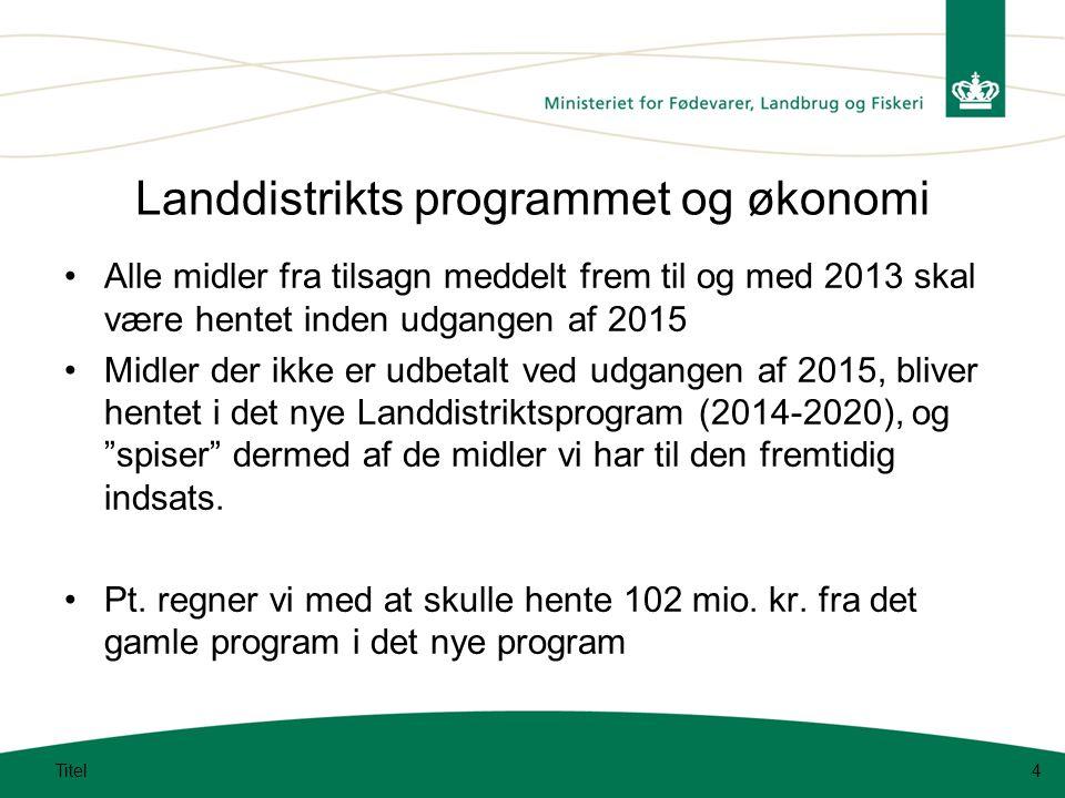 Landdistrikts programmet og økonomi Alle midler fra tilsagn meddelt frem til og med 2013 skal være hentet inden udgangen af 2015 Midler der ikke er udbetalt ved udgangen af 2015, bliver hentet i det nye Landdistriktsprogram (2014-2020), og spiser dermed af de midler vi har til den fremtidig indsats.