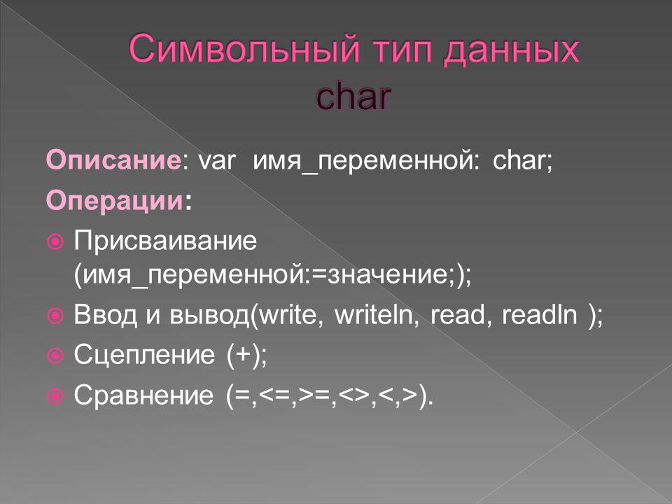 Описание: var имя_переменной: char; Операции:  Присваивание (имя_переменной:=значение;);  Ввод и вывод(write, writeln, read, readln );  Сцепление (+);  Сравнение (=, =,<>, ).