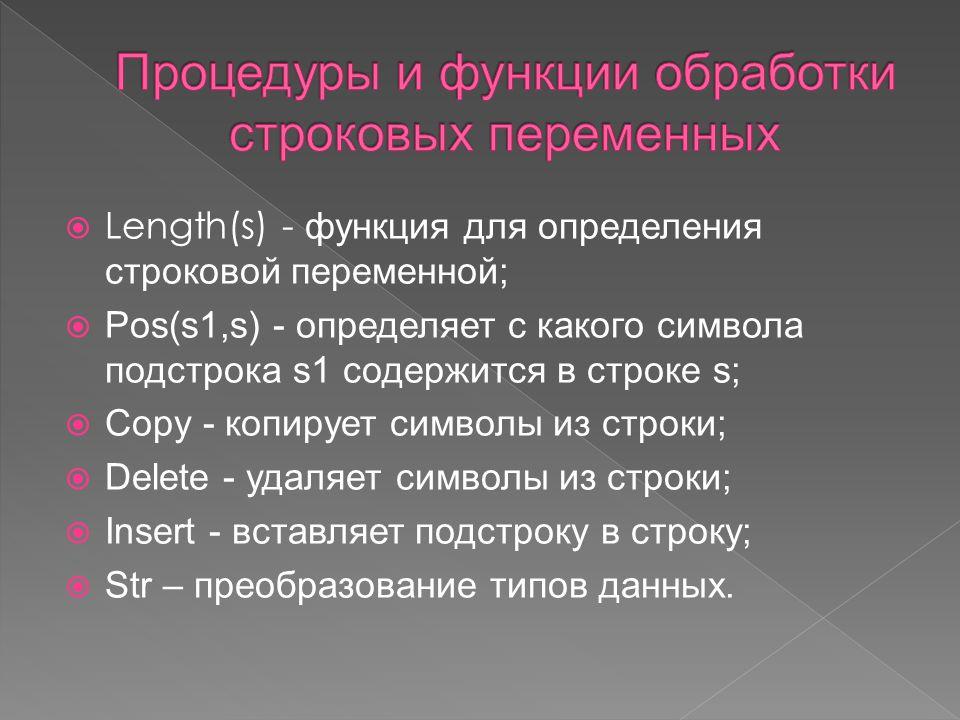  Length(s) - функция для определения строковой переменной;  Pos(s1,s) - определяет с какого символа подстрока s1 содержится в строке s;  Copy - копирует символы из строки;  Delete - удаляет символы из строки;  Insert - вставляет подстроку в строку;  Str – преобразование типов данных.