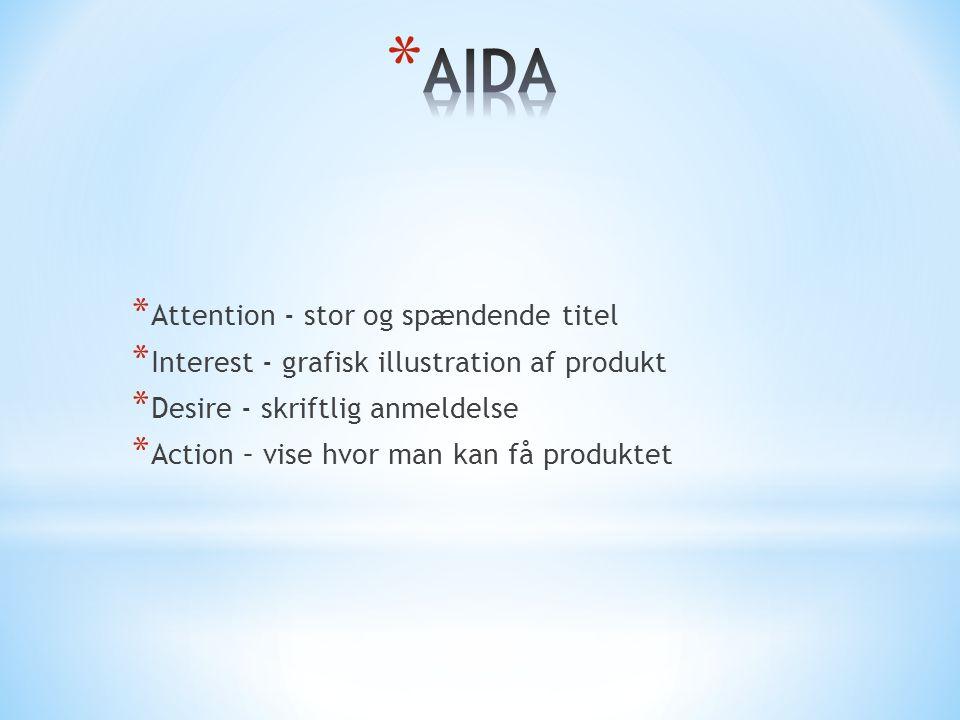 * Attention - stor og spændende titel * Interest - grafisk illustration af produkt * Desire - skriftlig anmeldelse * Action – vise hvor man kan få produktet