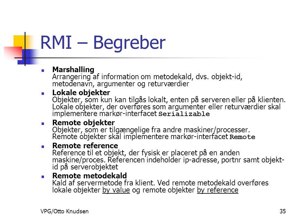VPG/Otto Knudsen35 RMI – Begreber Marshalling Arrangering af information om metodekald, dvs.