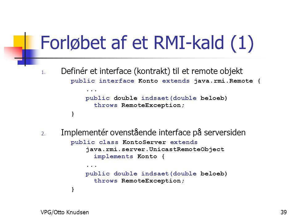 VPG/Otto Knudsen39 Forløbet af et RMI-kald (1) 1.