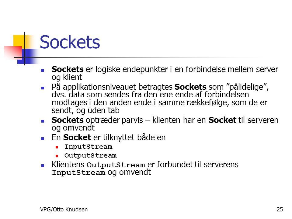 VPG/Otto Knudsen25 Sockets Sockets er logiske endepunkter i en forbindelse mellem server og klient På applikationsniveauet betragtes Sockets som pålidelige , dvs.