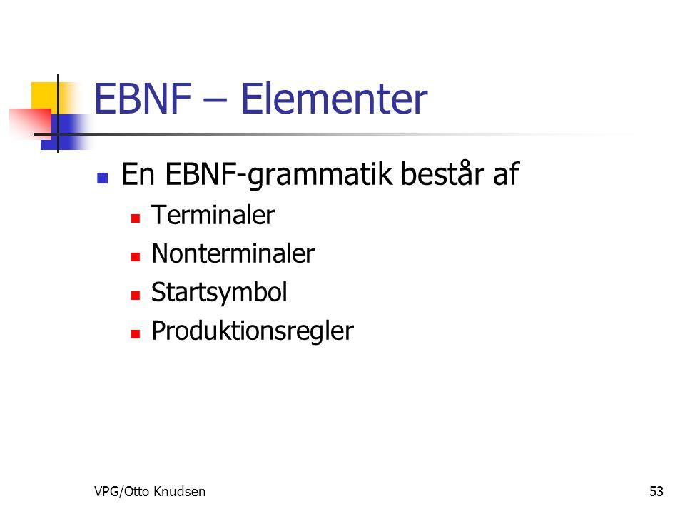 VPG/Otto Knudsen53 EBNF – Elementer En EBNF-grammatik består af Terminaler Nonterminaler Startsymbol Produktionsregler