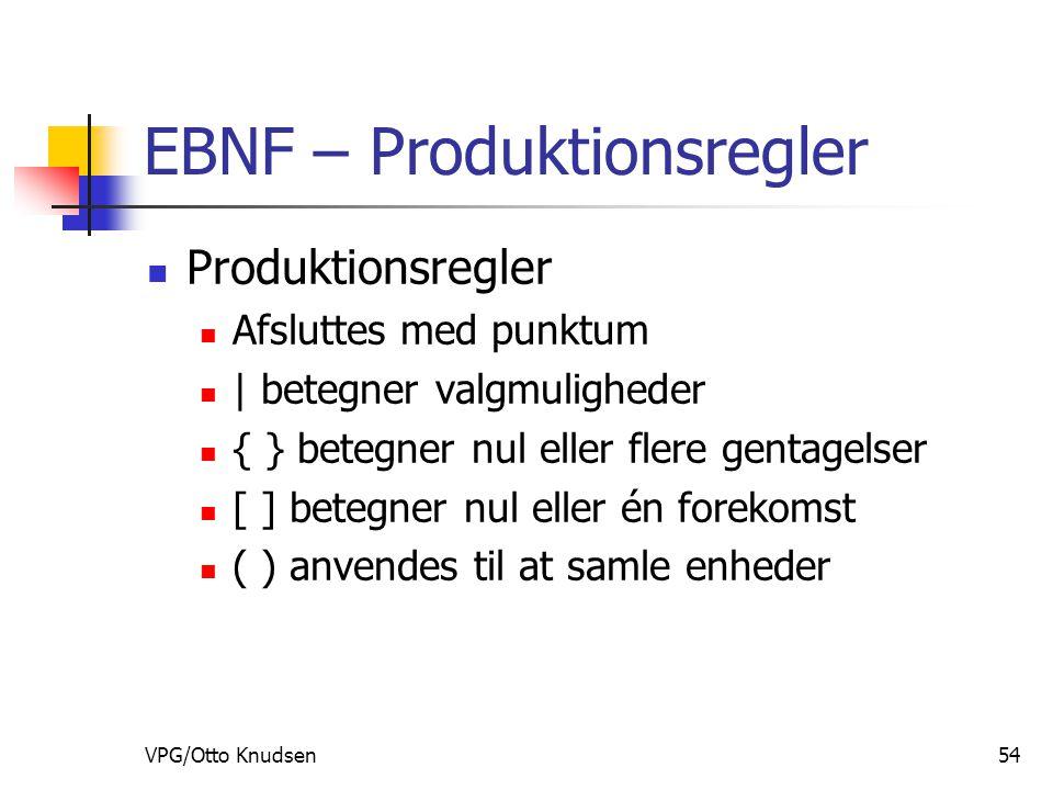 VPG/Otto Knudsen54 EBNF – Produktionsregler Produktionsregler Afsluttes med punktum | betegner valgmuligheder { } betegner nul eller flere gentagelser [ ] betegner nul eller én forekomst ( ) anvendes til at samle enheder
