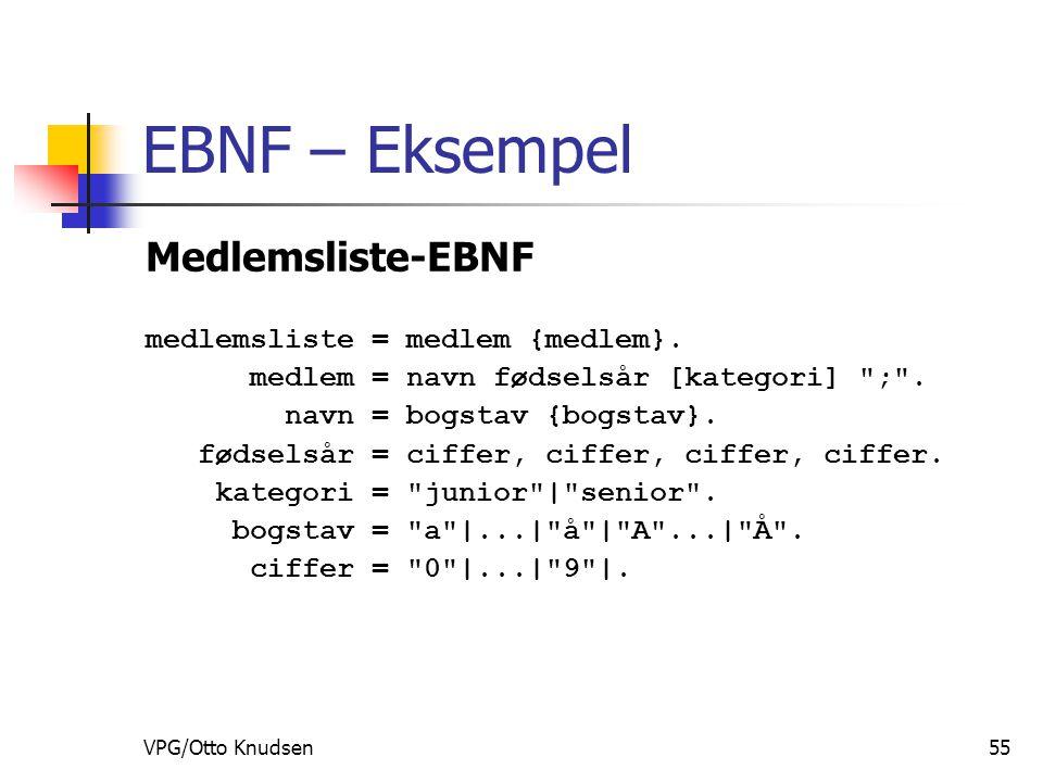 VPG/Otto Knudsen55 EBNF – Eksempel Medlemsliste-EBNF medlemsliste = medlem {medlem}.