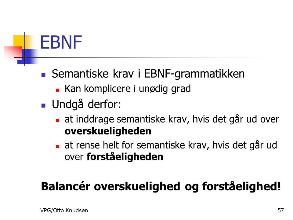VPG/Otto Knudsen57 EBNF Semantiske krav i EBNF-grammatikken Kan komplicere i unødig grad Undgå derfor: at inddrage semantiske krav, hvis det går ud over overskueligheden at rense helt for semantiske krav, hvis det går ud over forståeligheden Balancér overskuelighed og forståelighed!