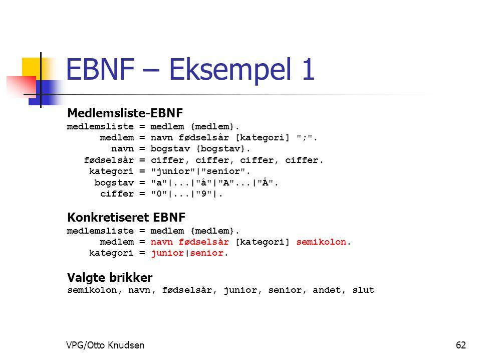 VPG/Otto Knudsen62 EBNF – Eksempel 1 Medlemsliste-EBNF medlemsliste = medlem {medlem}.