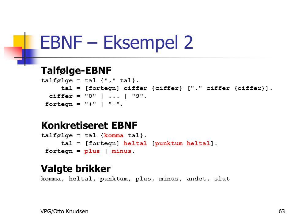 VPG/Otto Knudsen63 EBNF – Eksempel 2 Talfølge-EBNF talfølge = tal { , tal}.