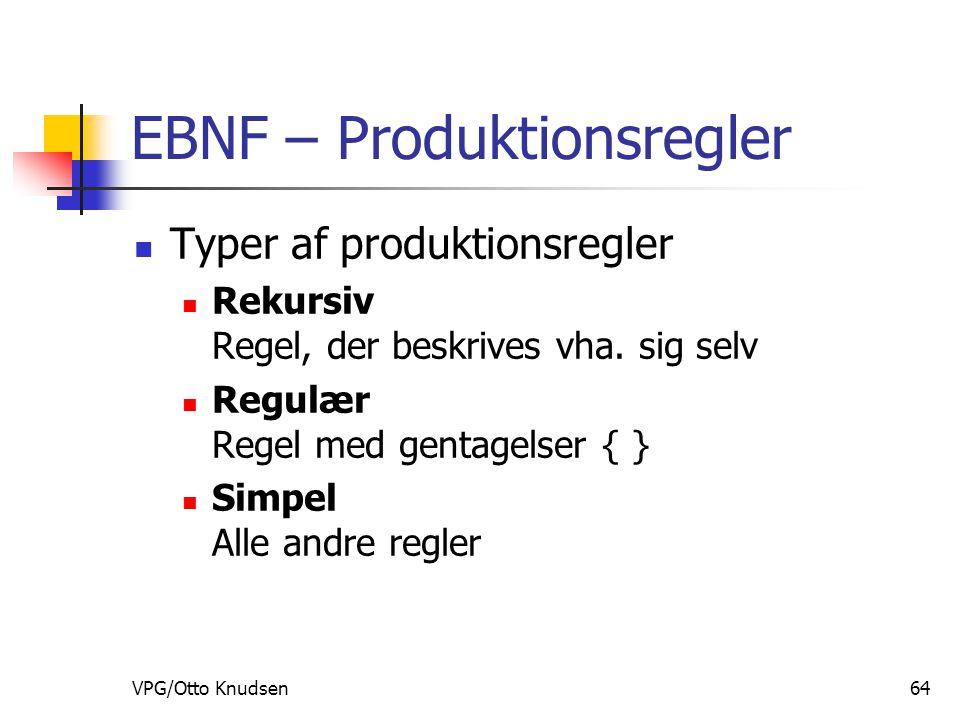 VPG/Otto Knudsen64 EBNF – Produktionsregler Typer af produktionsregler Rekursiv Regel, der beskrives vha.
