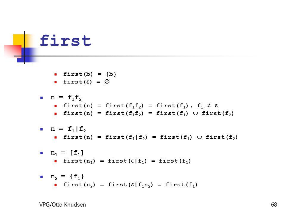 VPG/Otto Knudsen68 first first(b) = {b} first(  ) =  n = f 1 f 2 first(n) = first(f 1 f 2 ) = first(f 1 ), f 1 ≠  first(n) = first(f 1 f 2 ) = first(f 1 )  first(f 2 ) n = f 1 |f 2 first(n) = first(f 1 |f 2 ) = first(f 1 )  first(f 2 ) n 1 = [f 1 ] first(n 1 ) = first(  |f 1 ) = first(f 1 ) n 2 = {f 1 } first(n 2 ) = first(  |f 1 n 2 ) = first(f 1 )
