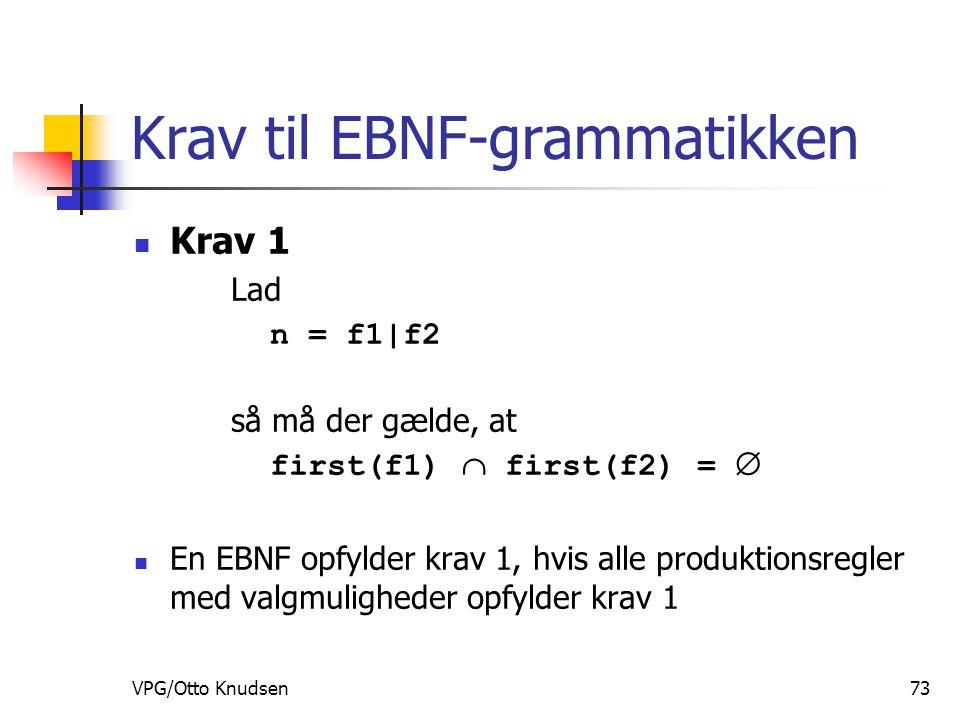 VPG/Otto Knudsen73 Krav til EBNF-grammatikken Krav 1 Lad n = f1|f2 så må der gælde, at first(f1)  first(f2) =  En EBNF opfylder krav 1, hvis alle produktionsregler med valgmuligheder opfylder krav 1