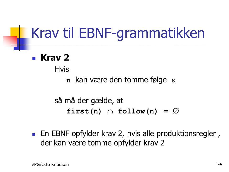 VPG/Otto Knudsen74 Krav til EBNF-grammatikken Krav 2 Hvis n kan være den tomme følge  så må der gælde, at first(n)  follow(n) =  En EBNF opfylder krav 2, hvis alle produktionsregler, der kan være tomme opfylder krav 2