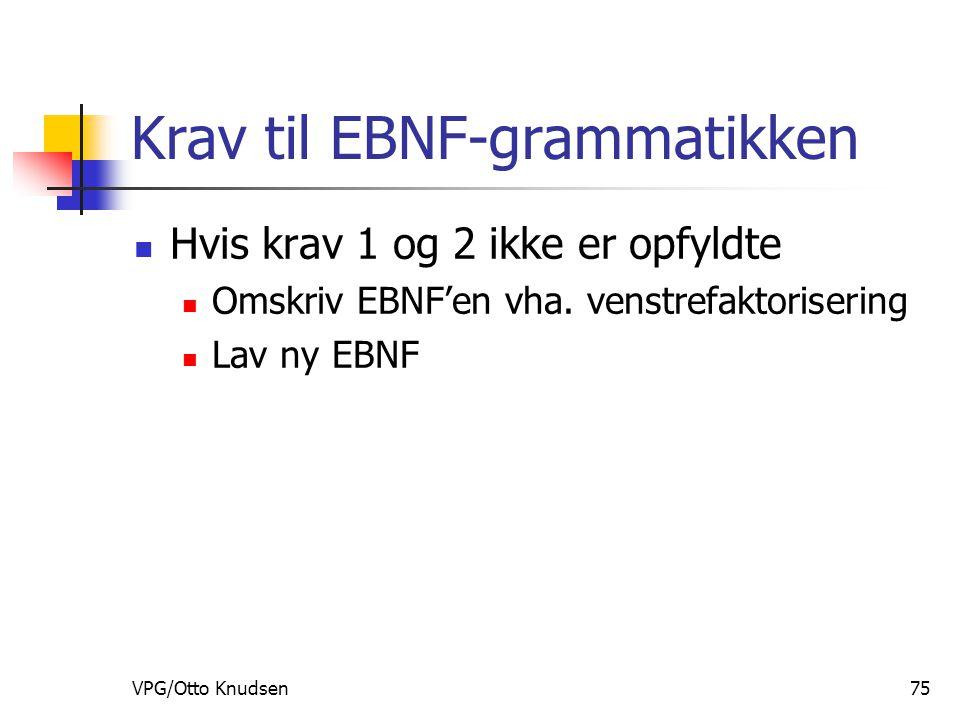 VPG/Otto Knudsen75 Krav til EBNF-grammatikken Hvis krav 1 og 2 ikke er opfyldte Omskriv EBNF'en vha.