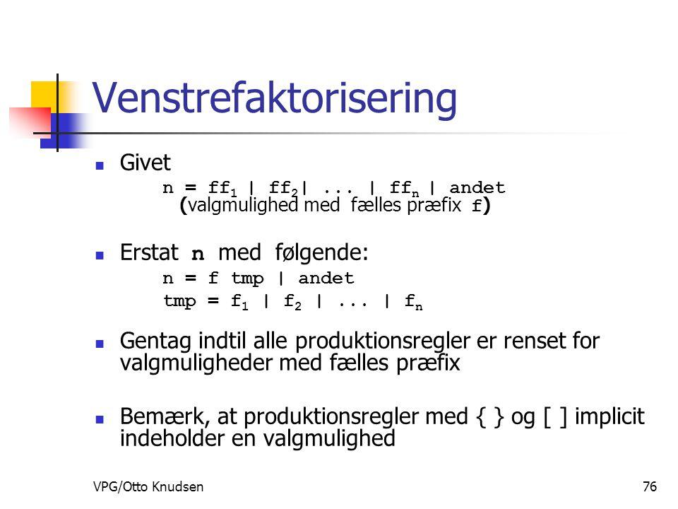 VPG/Otto Knudsen76 Venstrefaktorisering Givet n = ff 1 | ff 2 |...