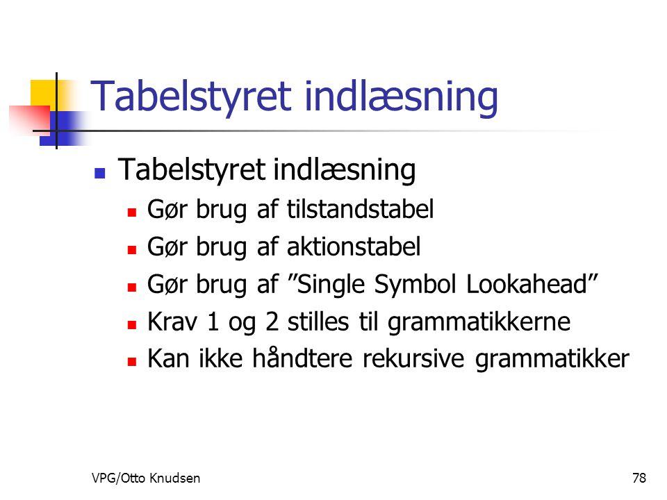VPG/Otto Knudsen78 Tabelstyret indlæsning Gør brug af tilstandstabel Gør brug af aktionstabel Gør brug af Single Symbol Lookahead Krav 1 og 2 stilles til grammatikkerne Kan ikke håndtere rekursive grammatikker