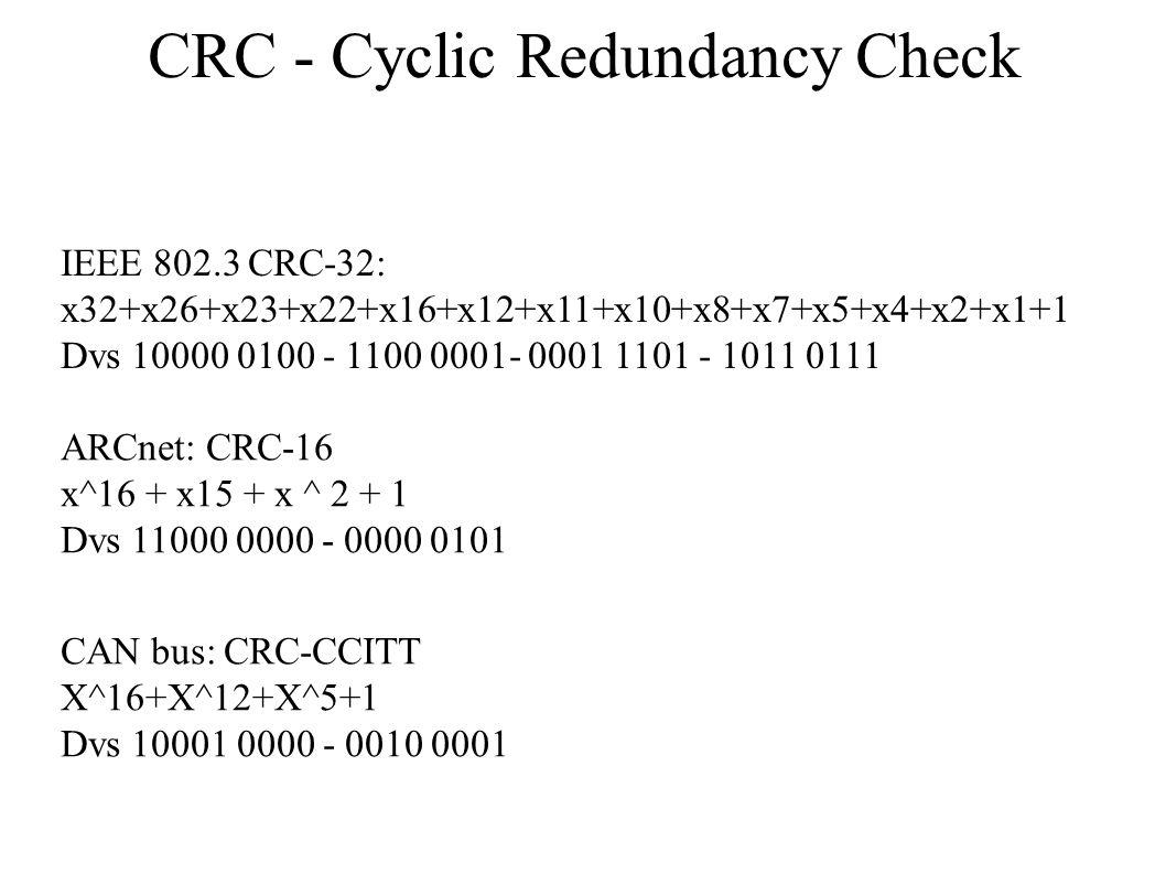 CRC - Cyclic Redundancy Check IEEE 802.3 CRC-32: x32+x26+x23+x22+x16+x12+x11+x10+x8+x7+x5+x4+x2+x1+1 Dvs 10000 0100 - 1100 0001- 0001 1101 - 1011 0111 ARCnet: CRC-16 x^16 + x15 + x ^ 2 + 1 Dvs 11000 0000 - 0000 0101 CAN bus: CRC-CCITT X^16+X^12+X^5+1 Dvs 10001 0000 - 0010 0001