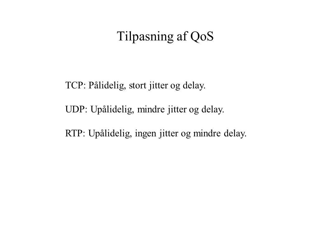 Tilpasning af QoS TCP: Pålidelig, stort jitter og delay.