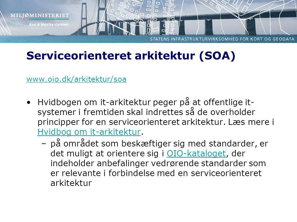 Serviceorienteret arkitektur (SOA) www.oio.dk/arkitektur/soa Hvidbogen om it-arkitektur peger på at offentlige it- systemer i fremtiden skal indrettes så de overholder principper for en serviceorienteret arkitektur.