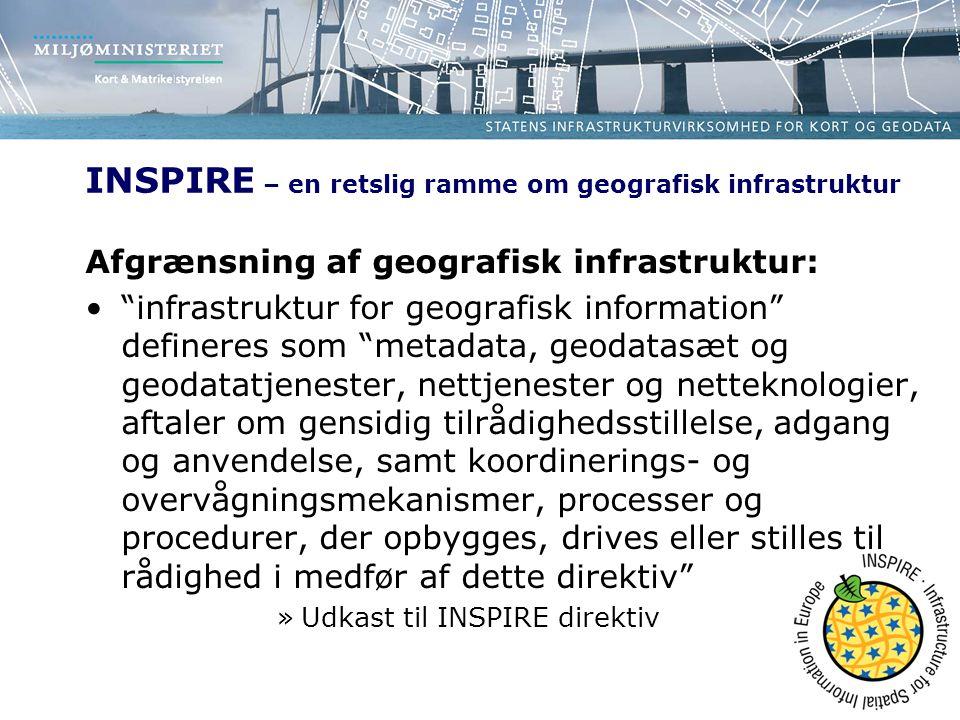 INSPIRE – en retslig ramme om geografisk infrastruktur Afgrænsning af geografisk infrastruktur: infrastruktur for geografisk information defineres som metadata, geodatasæt og geodatatjenester, nettjenester og netteknologier, aftaler om gensidig tilrådighedsstillelse, adgang og anvendelse, samt koordinerings- og overvågningsmekanismer, processer og procedurer, der opbygges, drives eller stilles til rådighed i medfør af dette direktiv »Udkast til INSPIRE direktiv