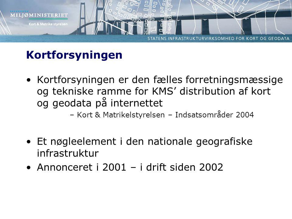Kortforsyningen Kortforsyningen er den fælles forretningsmæssige og tekniske ramme for KMS' distribution af kort og geodata på internettet –Kort & Matrikelstyrelsen – Indsatsområder 2004 Et nøgleelement i den nationale geografiske infrastruktur Annonceret i 2001 – i drift siden 2002