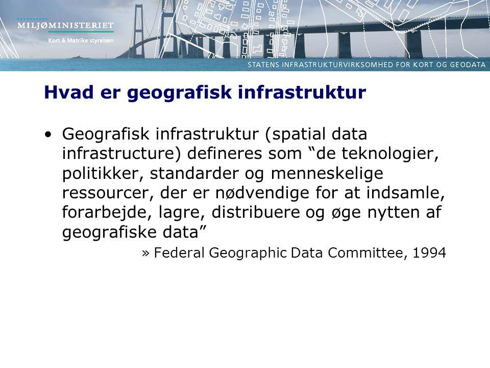 Hvad er geografisk infrastruktur Geografisk infrastruktur (spatial data infrastructure) defineres som de teknologier, politikker, standarder og menneskelige ressourcer, der er nødvendige for at indsamle, forarbejde, lagre, distribuere og øge nytten af geografiske data »Federal Geographic Data Committee, 1994